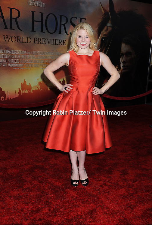 "Megan Hilty in Carolina Herrera attends the world premiere of ""War Horse"" on December 4, 2011 at Avery Fisher Hall in New York City."