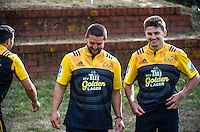 James Marshall (left), dane Coles and Beauden Barrett (right) with the new Tui Golden Lager jersey. Hurricanes rugby jersey promotion at Rugby League Park, Wellington, New Zealand on Thursday, 10 March 2016. Photo: Dave Lintott / lintottphoto.co.nz