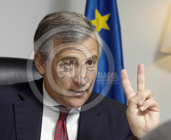 Brussels-Belgium - 16 October 2008---Antonio TAJANI, Italian, Vice President of the European Commission and  in charge of Transport, during an interview in his office---Photo: Horst Wagner / eup-images