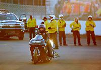 Nov 17, 2019; Pomona, CA, USA; NHRA pro stock motorcycle rider Jianna Salinas after winning the Auto Club Finals at Auto Club Raceway at Pomona. Mandatory Credit: Mark J. Rebilas-USA TODAY Sports