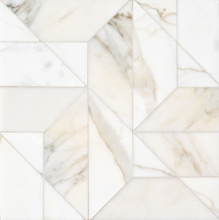 Zachary Grand, a hand-cut stone mosaic, show in polished Calacatta Gold, is part of the Semplice® collection for New Ravenna.