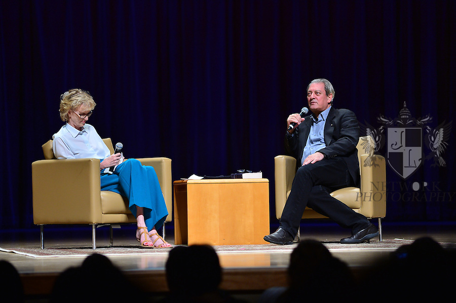 MIAMI, FL - FEBRUARY 21: Author Siri Hustvedt and Paul Auster during a Q&A about his latest novel, '4 3 2 1' during A Evening with Paul Auster & friends! MUSIC, MAGIC & THE MUSE: features performance by singer Sophie Auster and magicians David Blaine at Adrienne Arsht Center - Knight Concert Hall on February 21, 2017 in Miami, Florida. ( Photo by Johnny Louis / jlnphotography.com )
