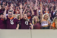 Blacksburg, VA - OCT 6, 2018: Virginia Tech Hokies fans cheer on their team during game between Notre Dame and Virginia Tech at Lane Stadium/Worsham Field Blacksburg, VA. (Photo by Phil Peters/Media Images International)