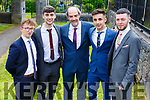 Brian Waldron, Dara Barry Walsh, Raul Venczel and Philip Corkery standing with John O'Rourke (Principal) at their Mercy Mounthawk Graduation ceremony in St John's on Friday.
