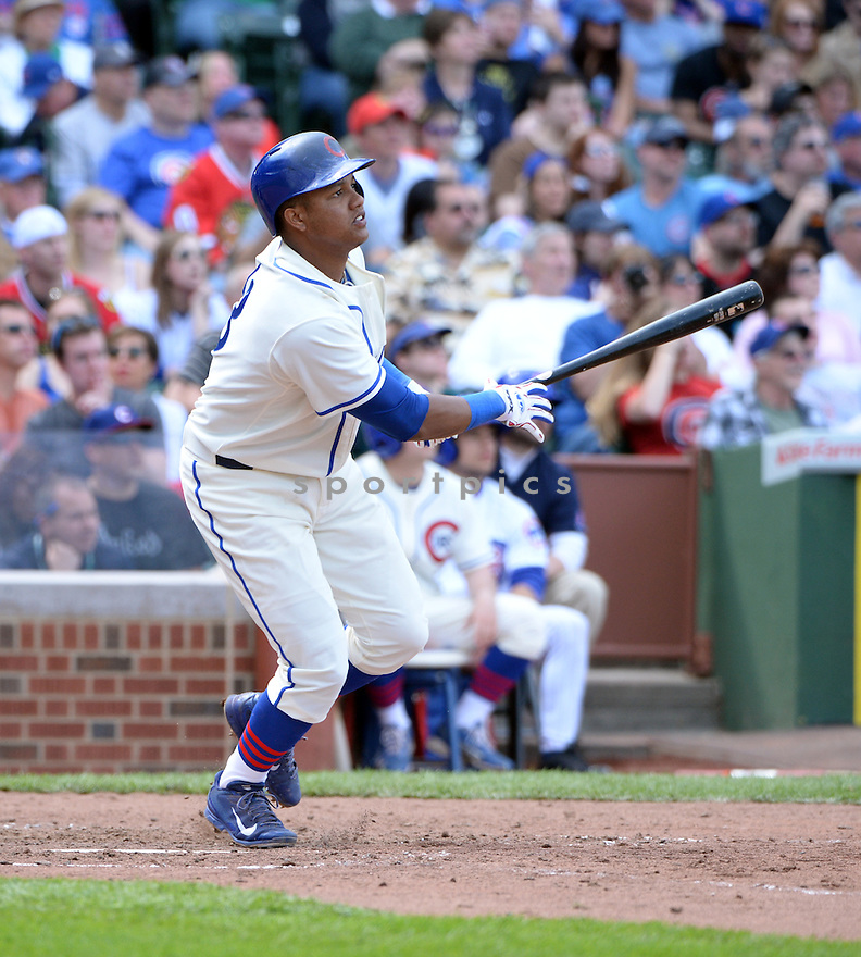 Chicago Cubs Starlin Castro (13) during a game against the Milwaukee Brewers on May 18, 2014 at Wrigley Field in Chicago, IL. The Cubs beat the Brewers 4-2.