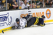Paul Thompson (UNH - 17), Fraser Allen (Merrimack - 2) - The Merrimack College Warriors defeated the University of New Hampshire Wildcats 4-1 (EN) in their Hockey East Semi-Final on Friday, March 18, 2011, at TD Garden in Boston, Massachusetts.