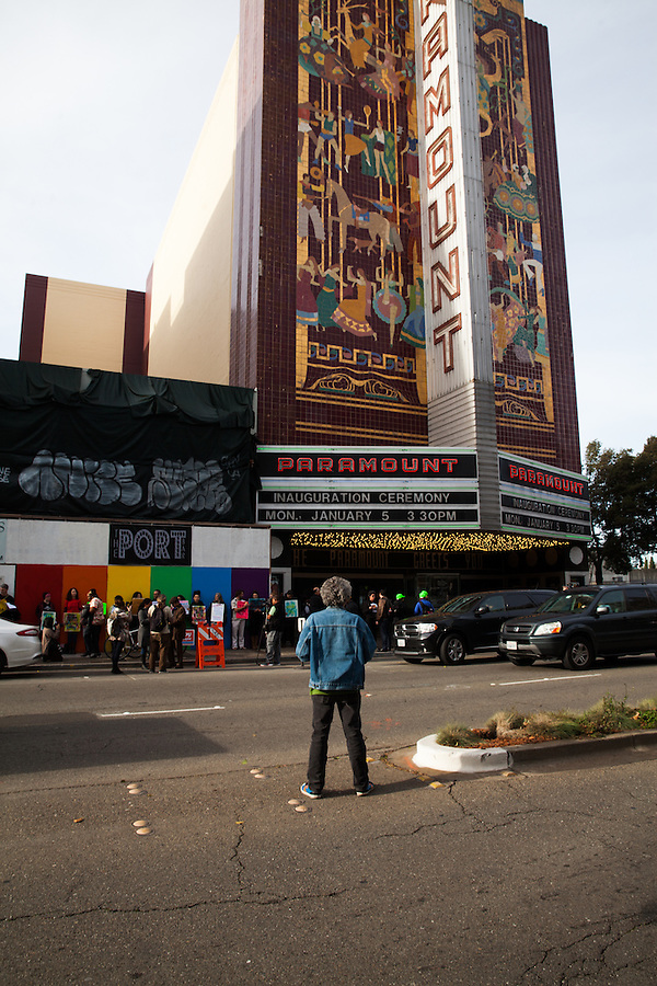 Protesters waited outside The Paramount Theater before the City of Oakland Inauguration Ceremony. Mayor Libby Schaaf and other elected officials took office on Monday, January 5, 2015.
