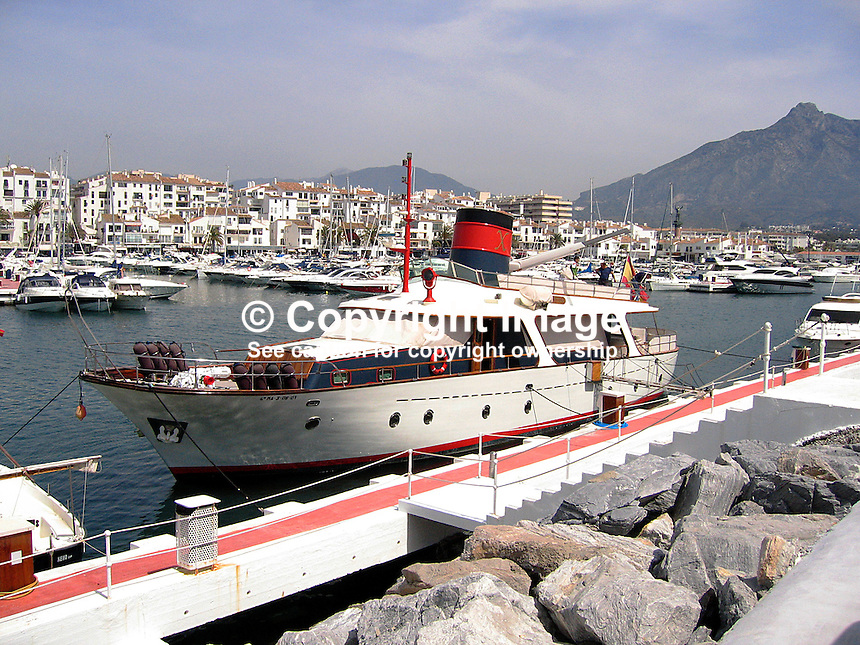 MV Xargo moored at Puerto Banus marina, Marbella, Malaga, Andalusia, Spain, blue sky, 200804240033, sea, Mediterranean..Copyright Image from Victor Patterson, 54 Dorchester Park, Belfast, UK, BT9 6RJ..Tel: +44 28 9066 1296.Mob: +44 7802 353836.Voicemail +44 20 8816 7153.Skype: victorpattersonbelfast.Email: victorpatterson@mac.com.Email: victorpatterson@ireland.com (back-up)..IMPORTANT: If you wish to use this image or any other of my images please go to www.victorpatterson.com and click on the Terms & Conditions. Then contact me by email or phone with the reference number(s) of the image(s) concerned.