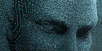 Top half of face in three dimensional binary code