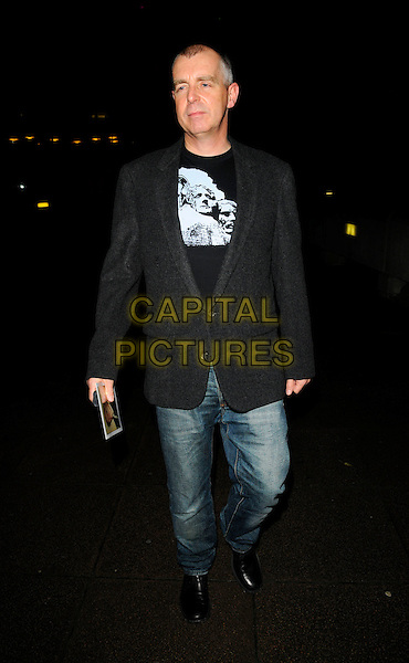 """NEIL TENNANT .The """"Andy Warhol"""" Other Voices, Other Rooms"""" private view, hayward gallery, South bank, London, England..October 6th, 2008.full length jeans denim black jacket.CAP/CAN.©Can Nguyen/Capital Pictures."""