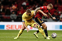 18th November 2019; Wanda Metropolitano Stadium, Madrid, Spain; European Championships 2020 Qualifier, Spain versus Romania;  Inigo Martinez (esp) challenges George Puscas (Romania) - Editorial Use