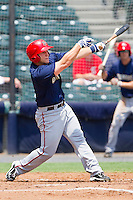 Adam Fox #8 of the Harrisburg Senators follows through on his swing against the Richmond Flying Squirrels at The Diamond on July 22, 2011 in Richmond, Virginia.  The Squirrels defeated the Senators 5-1.   (Brian Westerholt / Four Seam Images)
