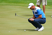 David Howell eyes up his putt on the 17th green during the BMW PGA Golf Championship at Wentworth Golf Course, Wentworth Drive, Virginia Water, England on 27 May 2017. Photo by Steve McCarthy/PRiME Media Images.