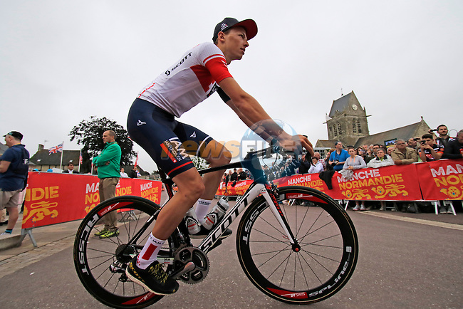 IAM Cycling team arrive for the team presentations before the start of the 2016 Tour de France, Sainte-Mere-Eglise, France . 30th June 2016.<br /> Picture: Eoin Clarke | Newsfile<br /> <br /> <br /> All photos usage must carry mandatory copyright credit (&copy; Newsfile | Eoin Clarke)