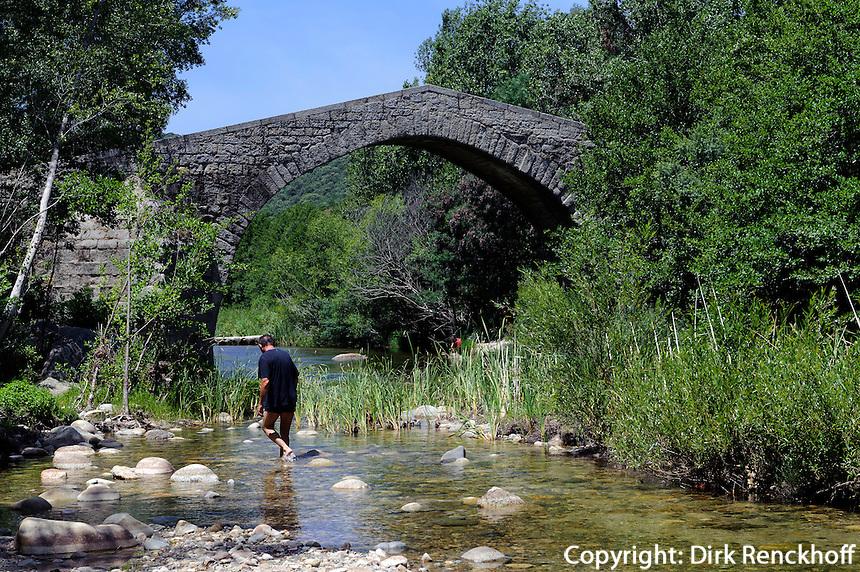 Genuesische Brücke Spin'A Cavallu über den Rizzanese, Korsika, Frankreich
