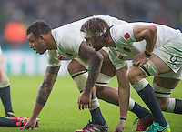 Twickenham, United Kingdom.  &quot;Ready Steady, Go&quot;Northampton Saints teams mates, left Courtney LAWES and Tom WOOD, take a defensive stance, during the  Old Mutual Wealth Series match: England vs South Africa, at the RFU Stadium, Twickenham, England, Saturday, 12.11.2016<br /> <br /> [Mandatory Credit; Peter Spurrier/Intersport-images]
