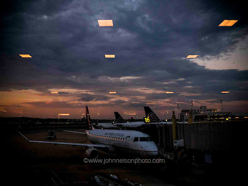 The soft light of an early morning flight, National Airport, Washington, DC