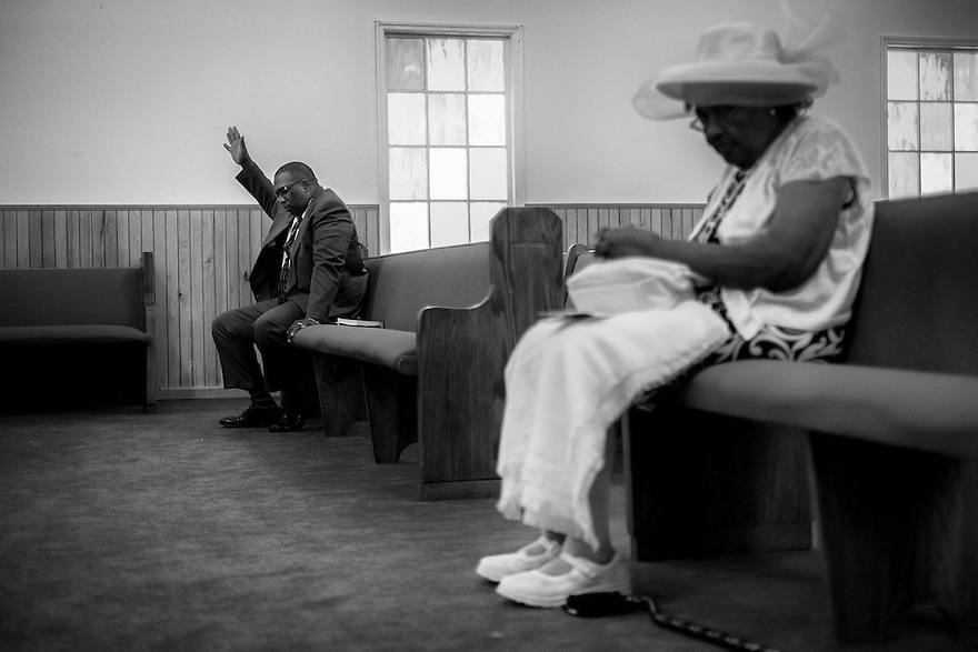 A church service at Mt. Calvery Missionary Baptist Church on Hilton Head Island. Gullah religious beliefs are derived from Christianity but their style of worship reflects their African heritage.