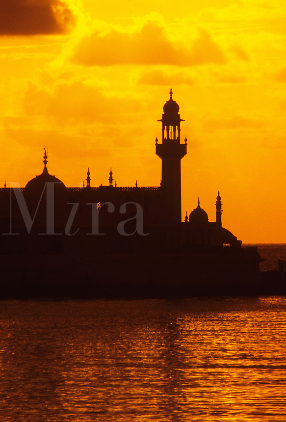 India. Mumbai/Bombay.  Haji Ali Mosque at sunset.