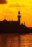 India. Mumbai/Bombay.  Haji Ali Mosque at sunset.