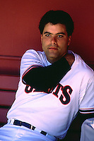 SAN FRANCISCO, CA - Mike Aldrete of the San Francisco Giants sits in the dugout before a game at Candlestick Park in San Francisco, California in 1988. (Photo by Brad Mangin)