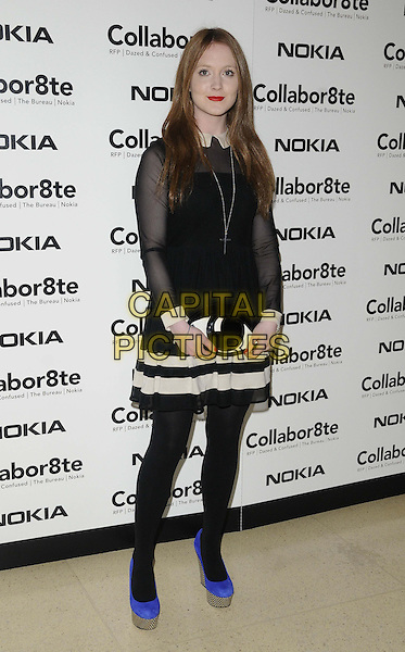 "Olivia Hallinan.The ""Collabor8te"" VIP film screening, Regent Street Cinema, University of Westminster, Regent St., London, England..February 12th, 2013.full length black blue shoes tights white stripe skirt top blouse sheer eye clutch bag.CAP/CAN.©Can Nguyen/Capital Pictures."