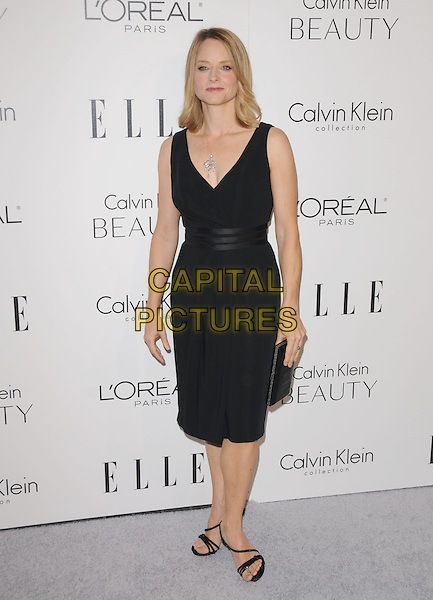 JODIE FOSTER .walks the carpet as Elle Honors Hollywood's Most Esteemed Women in the 17th Annual Women in Hollywood Tribute held at The Four Seasons Beverly Hills in Beverly Hills, California, USA, October 18th 2010..full length black dress sleeveless clutch bag sandals                                                                         .CAP/RKE/DVS.©DVS/RockinExposures/Capital Pictures.