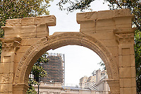 "Detail of the 25 foot tall facsimile of the Triumphal Arch of Palmyra on view in New York's City Hall Park is seen on Wednesday, September 21, 2016. The original, which stood for 2000 years in Palmyra, Syria, was destroyed by Isis in 2015. This reproduction, created by the Institute of Digital Archeology and UNESCO is made of Egyptian marble and is meant to encourage the public about the destruction of historic sites which are being destroyed in the name of ""cultural cleansing"". The IDA used high resolution images taken by both archeologists and tourists in the reconstruction. (© Richard B. Levine)"