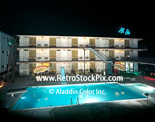 All Star Motel in Wildwood, NJ. Night Pool with Neon Sign. 1960's.