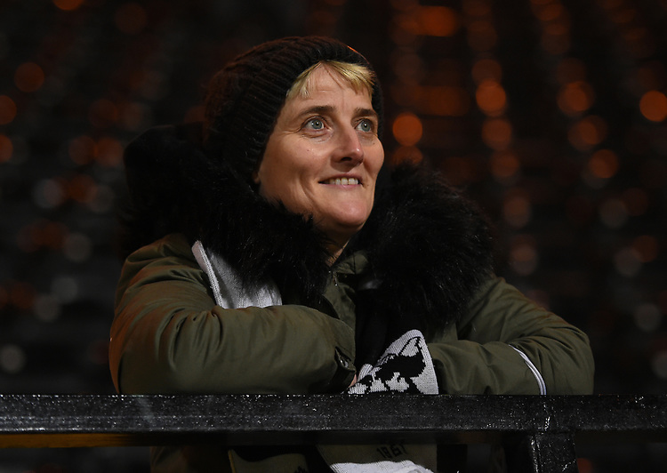 Notts County supporter watching the players warming up<br /> <br /> Photographer Jon Hobley/CameraSport<br /> <br /> The EFL Sky Bet League Two - Notts County v Crawley Town - Tuesday 23rd January 2018 - Meadow Lane - Nottingham<br /> <br /> World Copyright &copy; 2018 CameraSport. All rights reserved. 43 Linden Ave. Countesthorpe. Leicester. England. LE8 5PG - Tel: +44 (0) 116 277 4147 - admin@camerasport.com - www.camerasport.com