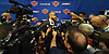 A scrum of media gathers around David Fizdale, New York Knicks Head Coach, during a news conference at Madison Square Garden Training Center in Greenburgh, NY on Friday, June 22, 2018.