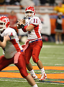 Quarterback Dominic Scavo (11) of the Hornell Red Raiders varsity football team against the Nanuet Golden Knights during the NYSPHSAA Class-B State Championship game at the Carrier Dome on November 29, 200 in Syracuse, New York.  Hornell defeated Nanuet 16-14.  (Copyright Mike Janes Photography)
