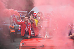 Atletico de Madrid Gabi Fernandez and Koke Resurreccion celebrating Europa League Championship at Neptune Fountain in Madrid, Spain. May 18, 2018. (ALTERPHOTOS/Borja B.Hojas)