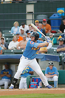 Myrtle Beach Pelicans outfielder Billy McKinney (20) at bat during a game against the Salem Red Sox at Ticketreturn.com Field at Pelicans Ballpark on May 5, 2015 in Myrtle Beach, South Carolina.  Myrtle Beach defeated Winston-Salem  6-0. (Robert Gurganus/Four Seam Images)