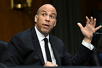 United States Senator Cory Booker (Democrat of New Jersey) speaks at a US Senate Judiciary Committee hearing examining issues facing prisons and jails during the coronavirus disease (COVID-19) pandemic on Capitol Hill in Washington, U.S., June 2, 2020. <br /> Credit: Erin Scott / Pool via CNP/AdMedia