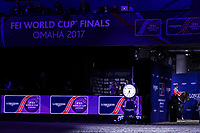 OMAHA, NEBRASKA - APR 2: McLain Ward and HH Azur enter the ring for the awards ceremony after winning the Longines FEI World Cup Jumping Final at the CenturyLink Center on April 2, 2017 in Omaha, Nebraska. (Photo by Taylor Pence/Eclipse Sportswire/Getty Images)