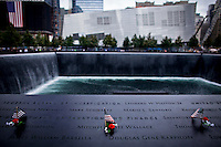 View of one of the twins 9/11 memorial and museum pools at World Trade Center in New York, 21/09/11. The September 11 Memorial & Museum was visited for more than 1 million people since it opened to the public Sept. 12, following the 10th anniversary of the terror attacks in New York, United States. PICTURE TAKEN ON SEPTEMBER 21, 2011  Photo by Eduardo Munoz Alvarez / VIEWpress.