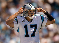 Carolina Panthers quarterback Jake Delhomme calls out plays during a 2007 Carolina Panthers game.