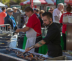 La Strada Assistant Chef Stevie Borghesi cooks sausages at the 35th Annual Eldorado Great Italian Festival held in downtown Reno on Saturday, October 8, 2016.
