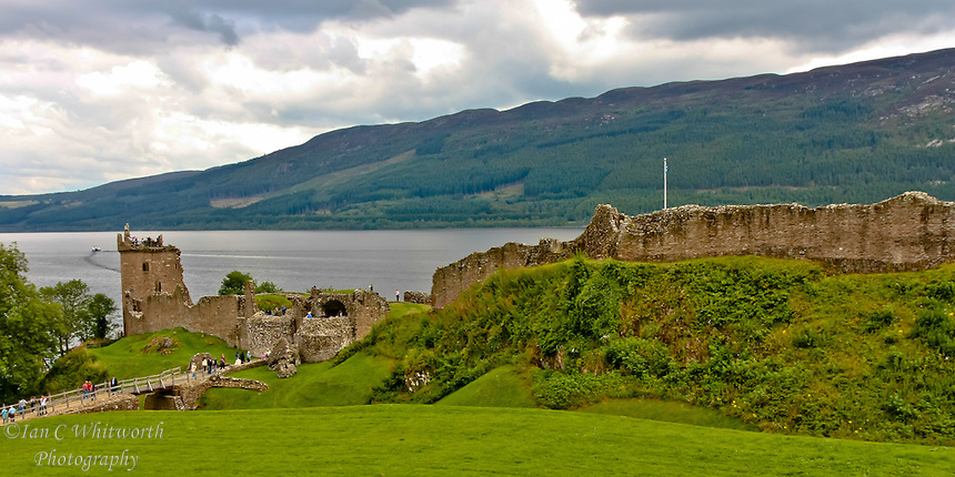 Looking at Urquhart Castle overlooking Loch Ness in Scotland