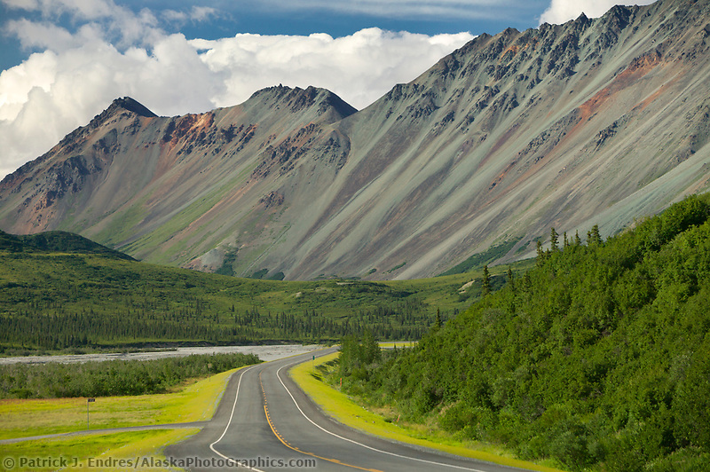 Rainbow Ridge, Rainbow mountain in the Alaska Range, Richardson Highway, Interior, Alaska