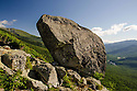 Situated high on a west ridge overlooking Pinkham Notch, Glen Boulder is such a large glacial erratic it can be seen from Route 16 and is a famous local landmark.