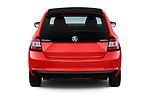 Straight rear view of a 2018 Skoda Rapid Spaceback Ambition 5 Door Hatchback stock images