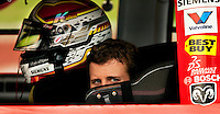 Kasey Kahne, driver of the No. 9 Budweiser Dodge car for Richard Petty Motorsports, waits for the start of the 2009 Coca-Cola Classic 600 race at the Lowe's Motor Speedway, in Concord, NC. NASCAR Driver David Reutimann ultimately won the race, and his first Sprint Cup, during the rain-shortened event, held May 25, 2009. NASCAR's longest scheduled race went only 227 laps, or 340.5 miles, before officials ended it because of rain. The 2009 race was the 50th running of the Coca-Cola 600. Ryan Newman and Robby Gordon finished second and third respectively.