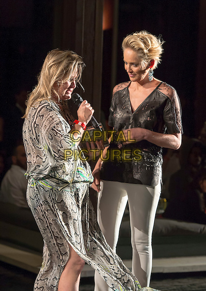 MIAMI - November 06: Sharon Stone shares a moment with her sister Kelly Stone after presenting her the Legacy Award of Excellence for her 20 plus years of help with the homeless and Planet Hope. The event was held at the Setai Hotel in Miami Beach as part of Funkshion Fashion Week. November 6, 2015. <br /> CAP/MPI/BSAP<br /> &copy;BSAP/MPI/Capital Pictures