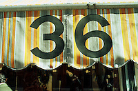 Awning with number 36 street address