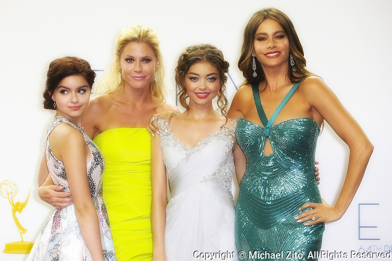 09/23/12 Los Angeles, CA: Julie Bowen, Ariel Winter, , Sarah Hyland and Sofía Vergara pose in the press room during the 64th Primetime Emmy Awards at Nokia Theatre L.A. Live on September 23, 2012 in Los Angeles, California.