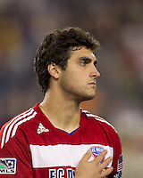 FC Dallas defender George John (14). In a Major League Soccer (MLS) match, the New England Revolution defeated FC Dallas, 2-0, at Gillette Stadium on September 10, 2011.