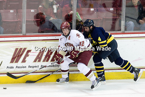 Ben Smith (BC - 12), Pat Bowen (Merrimack - 4) - The Boston College Eagles defeated the Merrimack College Warriors 7-0 on Tuesday, February 23, 2010 at Conte Forum in Chestnut Hill, Massachusetts.