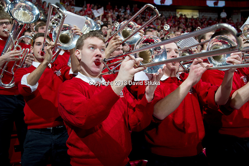 Wisconsin Badgers band performs during a Big Ten Conference NCAA college basketball game against the Michigan Wolverines Saturday, February 9, 2013, in Madison, Wis. The Badgers won 65-62 (OT) (Photo by David Stluka)